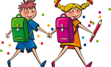 Children with backpacks walking