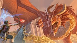 Image of two D&D characters battling a fire-breathing dragon